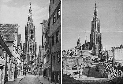 Dieselbe Straße vor und nach dem Krieg