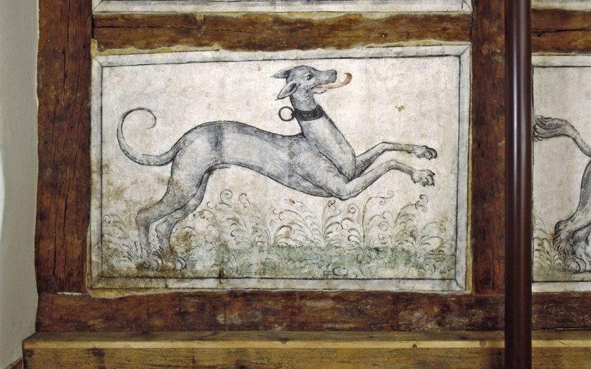 Wandmalerei mit dem Motiv eines Windhunds