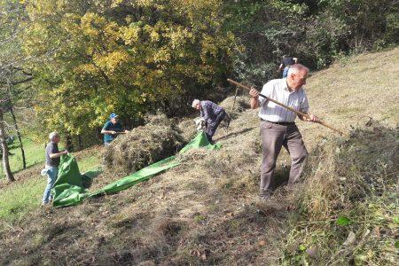 Menschen an einem Wiesenhang rechen Gras zusammen