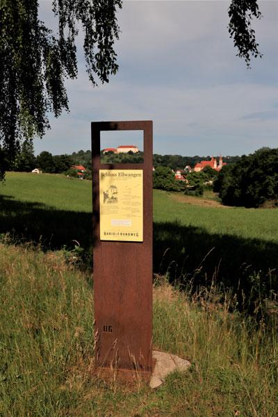 Tafel vor Landschaft
