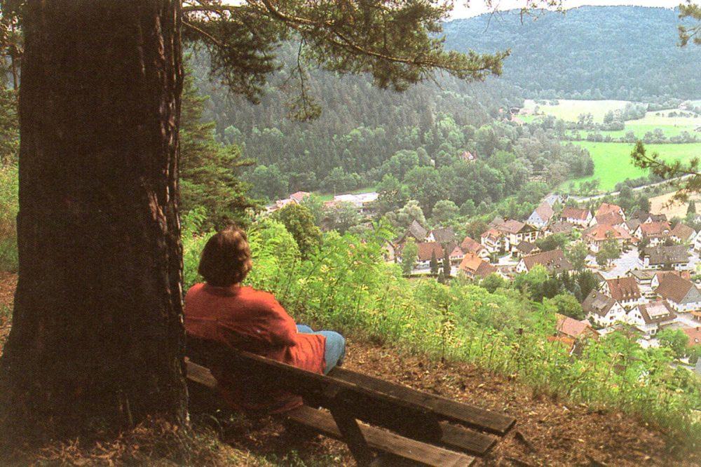Person blickt von einer Bank ins Tal