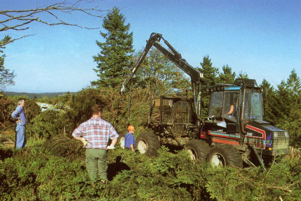 Personen und ein Bagger bei Waldarbeiten
