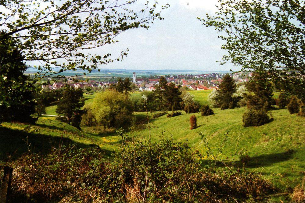 Landschaft mit Blick auf ein Dorf