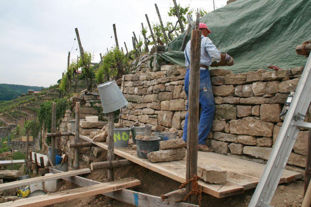 ein Mann repariert eine Weinbergmauer