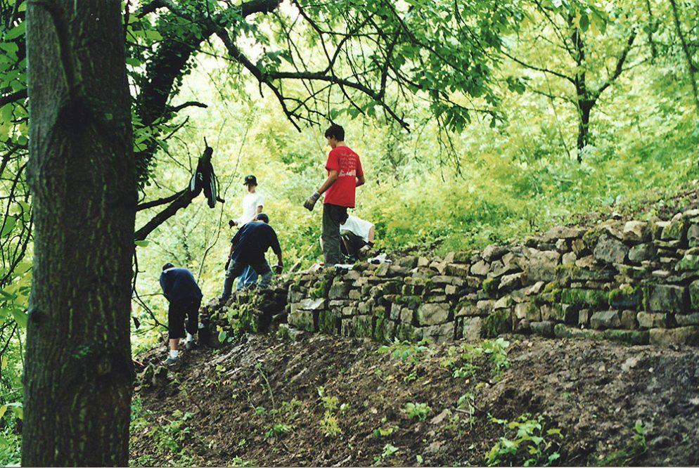 junge Menschen bauien an einer Mauer im Wald