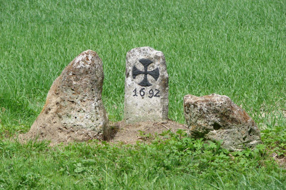 beschriftete Steine auf einer Wiese