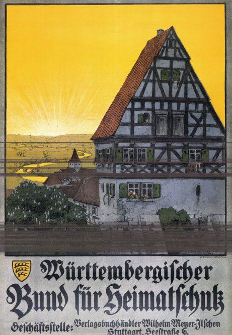 Plakat mit einem Fachwerkhaus vor der untergehenden Sonne
