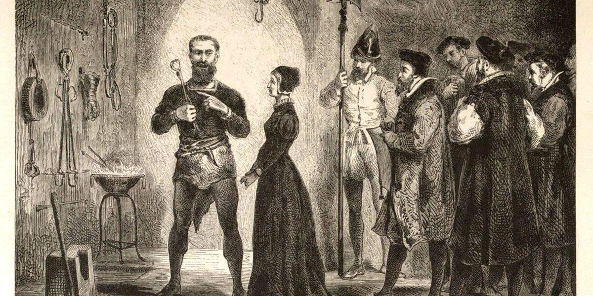 Zeichnung einer Gruppe von Personen: Männer umringen eine Frau